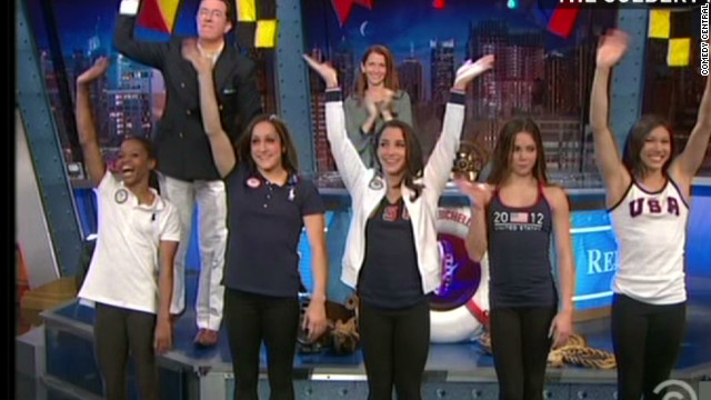 'Fierce 5' do gymnastics for Colbert