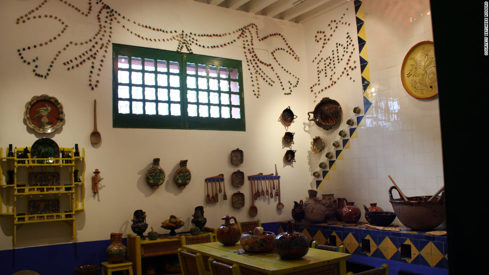 Frida Kahlo's Casa Azul is filled with Mexican folk art and crafts, like the pottery she used to make this mosaic in the kitchen.