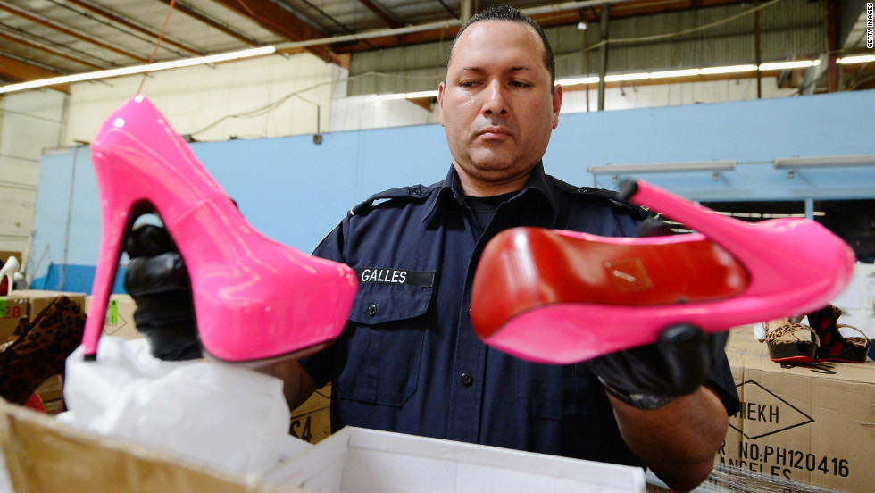 Fake \u0026#39;red sole\u0026#39; shoes seized at Los Angeles port - CNN.com