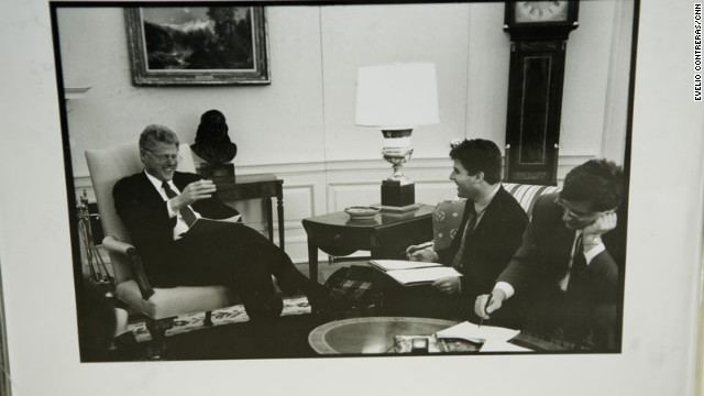 Mark Katz makes Clinton crack up, as seen in this framed photo Katz keeps on his desk.