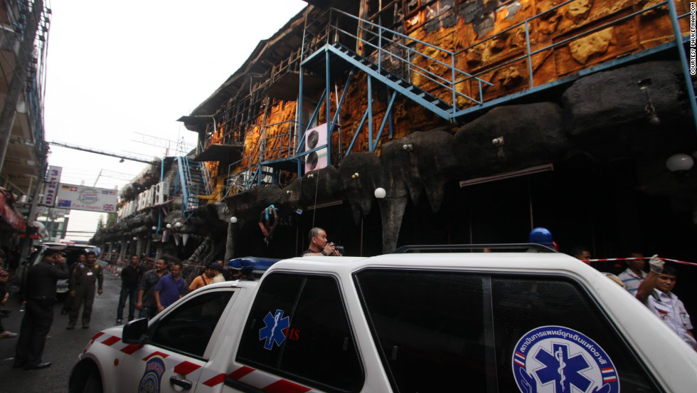 """It's not known what caused the blaze but police suspect a transformer near the club caught fire in the early hours of Friday, August 17. Photo courtesy of <a href=""""http://phuketwan.com/"""" target=""""_blank"""">Phuketwan.com</a>"""