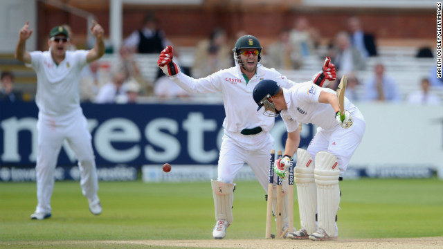 Jonathan Bairstow of England is bowled by Imran Tahir of South Africa during the final day of the third Test at Lord's.