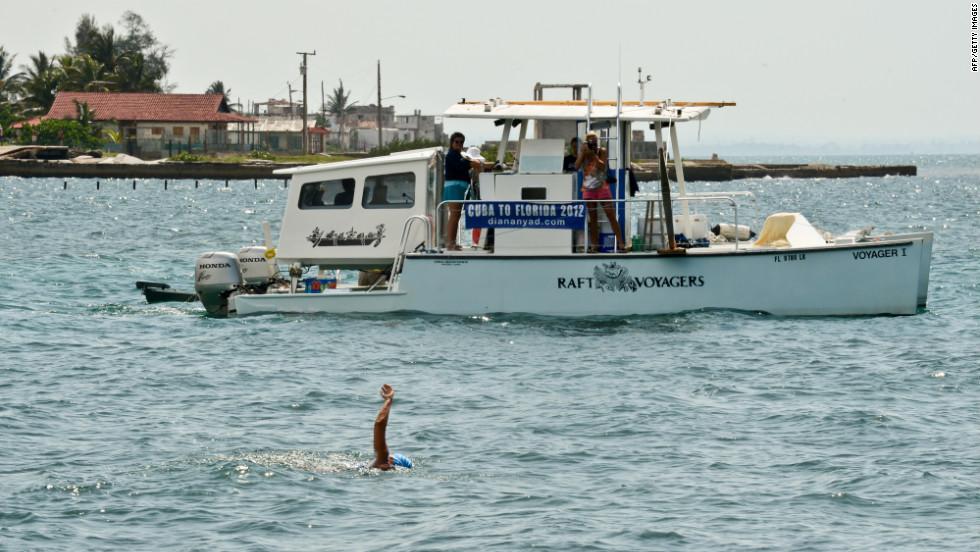 Nyad began her swim at the Ernest Hemingway Nautical Club in Havana, Cuba, on Saturday, August 18.