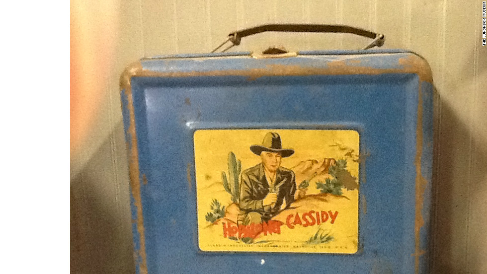 "This ""Hopalong Cassidy"" lunchbox from 1950 was popular among schoolkids in the postwar years. It's usually cited as the first television tie-in with the lunchbox industry."