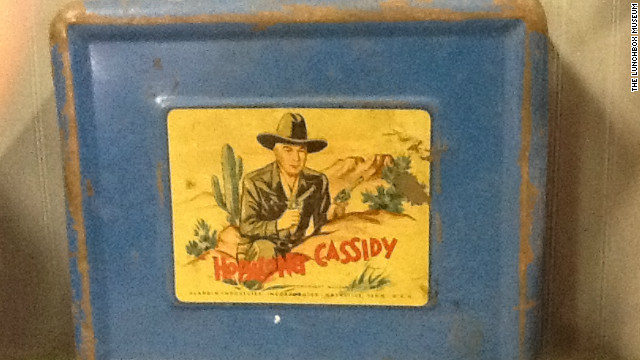 "The ""Hopalong Cassidy"" lunchbox was popular among schoolchildren in the 1950s."