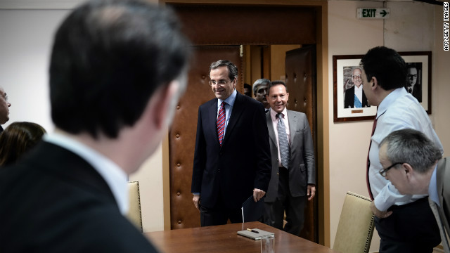 Greek Prime Minister Antonis Samaras and Finance Minister Yannis Stournaras at the Greek Finance Ministry, August 8, 2012.