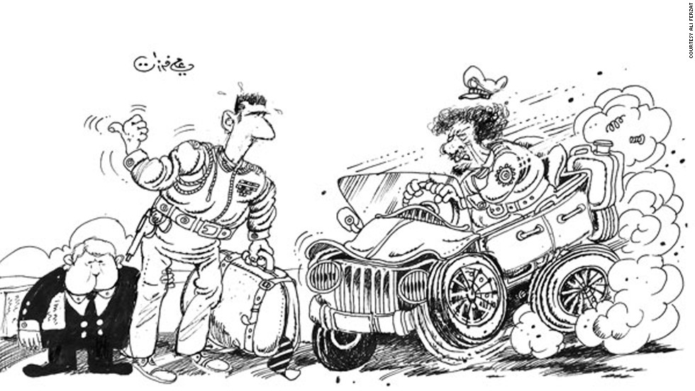 Weeks before being assaulted, Syrian cartoonist Ali Ferzat depicted President Bashar al-Assad thumbing a ride from ousted, now-deceased Libyan dictator Moammar Gadhafi.