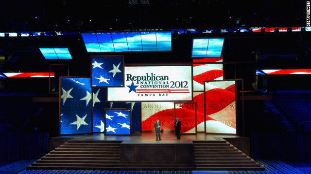Party officials test out the stage for the Republican National Convention in Tampa, Florida.
