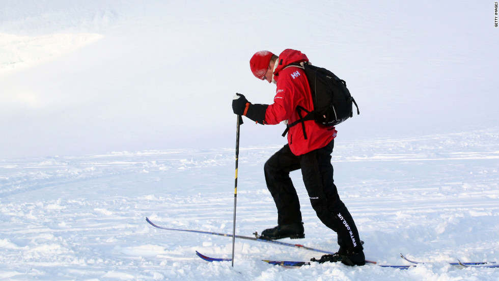 Prince Harry skis with the Walking with the Wounded team, who have gathered on the island of Spitsbergen, Norway -- situated between the Norwegian mainland and the North Pole -- for their last days of preparation before setting off to the North Pole by foot on March 29, 2011.
