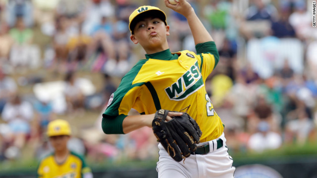 Pitcher Nick Pratto throws for the West team from Huntington Beach, California, in the 2011 Little League Baseball World Series.