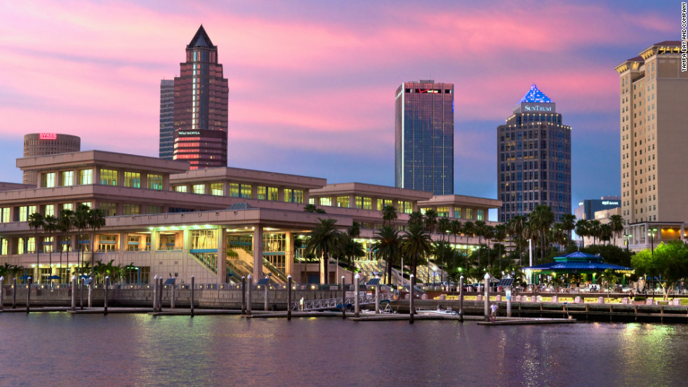 The Tampa Convention Center, which will host the Republican National Convention, at night.