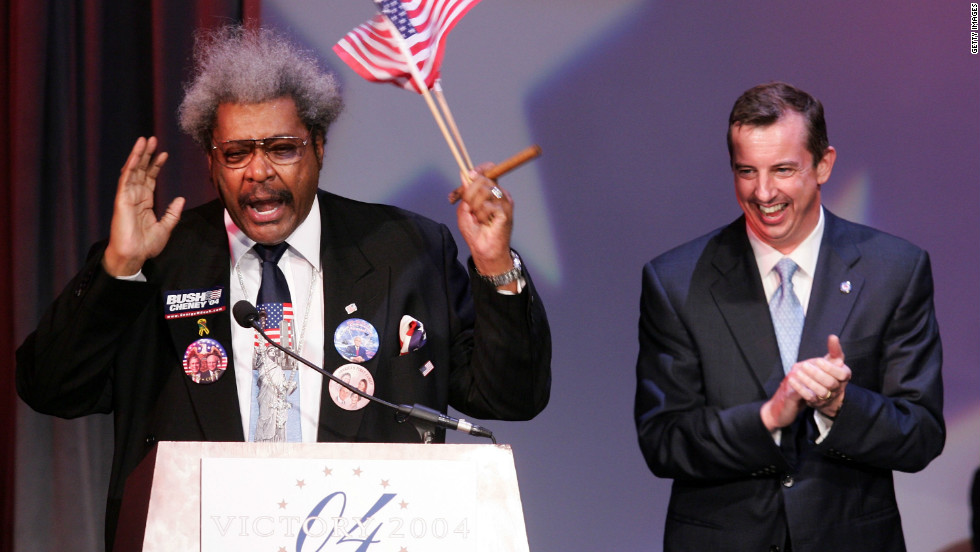 """With Republican National Committee chairman Ed Gillespie by his side, King speaks at a 2004 victory celebration for newly re-elected President George W. Bush.  King says he is not loyal to either political party.  """"I'm a 'Republicrat' and that means that I'm for the American people first and the party second."""""""