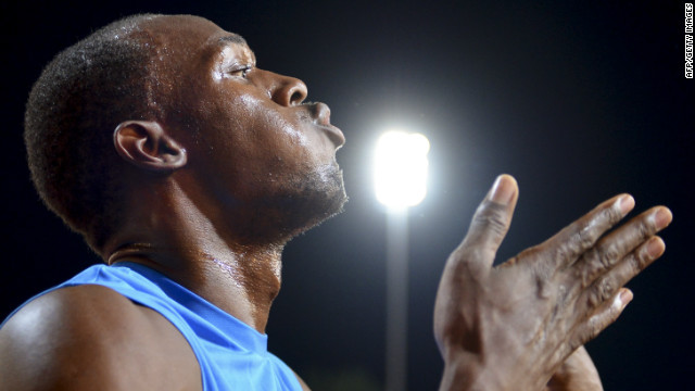 Usain Bolt celebrates after his 200m victory in the Diamond League meeting in Lausanne.