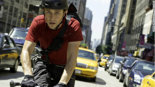 "Joseph Gordon-Levitt races through the streets of Manhattan as Wilee in ""Premium Rush."""