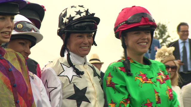 Lady jockeys compete in the Magnolia Cup