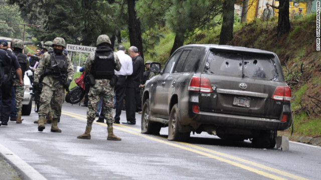 Gunmen attacked an American diplomatic vehicle south of Mexico City on Friday morning, a Mexican military official said.