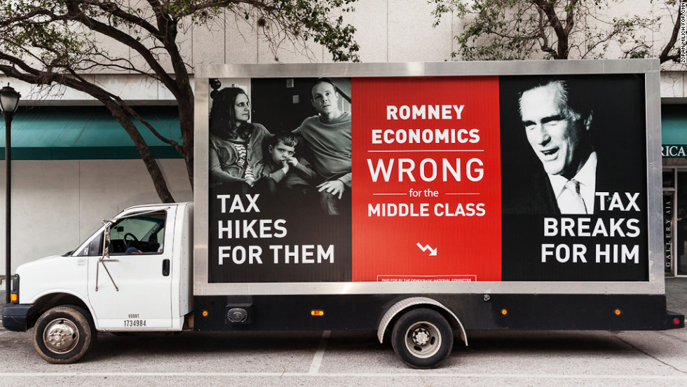 Pro-Democratic Party advertisements move through Tampa ahead of the Republican National Convention.
