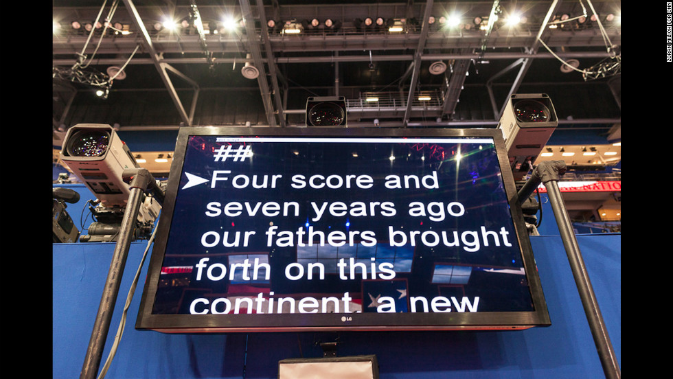 The teleprompter is tested Sunday at the Tampa Bay Times Forum.