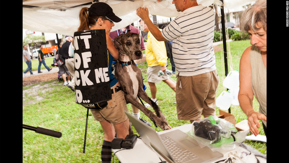 A Great Dane, Dora, is held back as she jumps for the table during a Dogs Against Romney protest on Sunday.