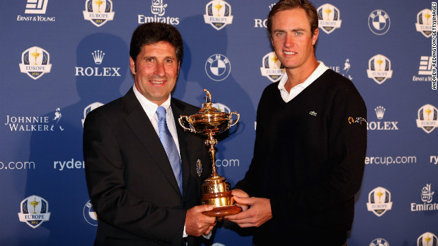 European Ryder Cup team captain Jose Maria Olazabal poses his with wildcard pick Nicolas Colsaerts of Belgium.