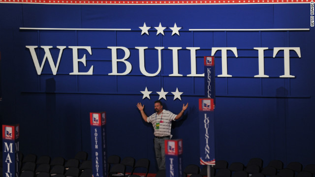 """We Built It"" is Tuesday's theme at the GOP convention in Tampa, Florida"
