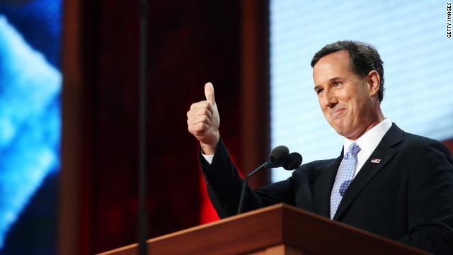AMPA, FL - AUGUST 28: Former U.S. Sen. Rick Santorum speaks on stage during the Republican National Convention at the Tampa Bay Times Forum on August 28, 2012 in Tampa, Florida. Today is the first full session of the RNC after the start was delayed due to Tropical Storm Isaac. (Photo by Chip Somodevilla/Getty Images)