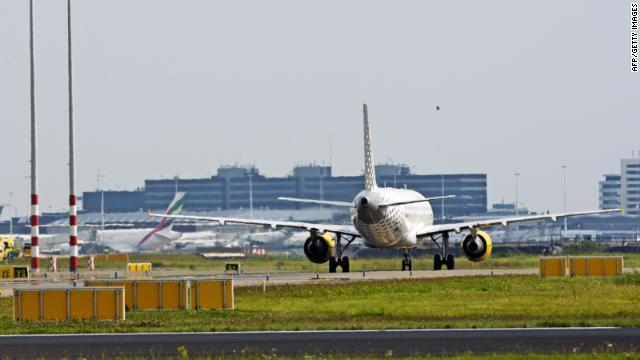 A picture taken on August 29, 2012 shows a plane of the Spanish company Vueling after it landed at Schiphol Airport in Amsterdam.