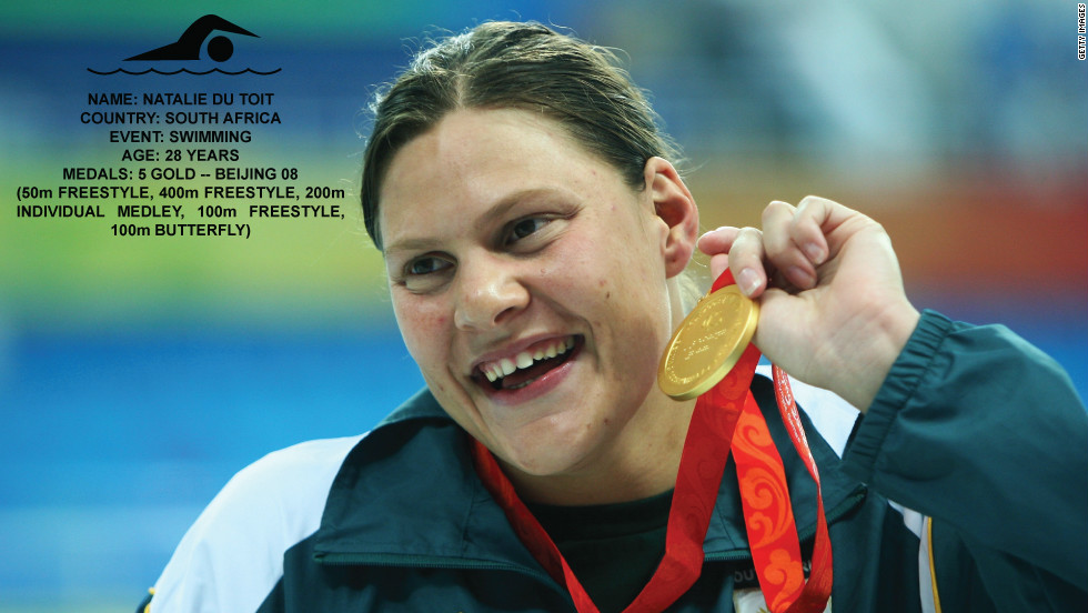 South African Natalie Du Toit lost her left leg when she was hit by a car as a young promising swimmer. She kept training and, besides winning five gold medals in Beijing Paralympics, she qualified for Beijing Olympics 10 km swimming race, finishing 16th. She recently announced London will be her last major competition.