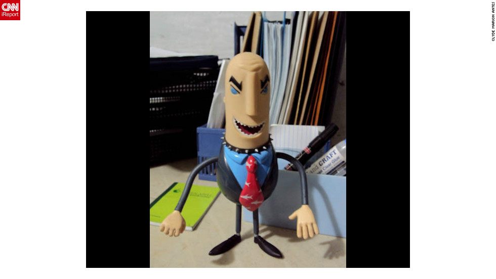 "A little plastic shark in a pinstripe suit works wonders for 22 year old Philippines college student <a href=""http://ireport.cnn.com/docs/DOC-830904"" target=""_blank"">Clyde Antes</a>' motivational levels. ""Whenever I feel bored or tired while working, I'll just look at my toy and it makes me laugh,"" he says. ""You talkin' to me, Sharkbait?"", Antes makes the toy say.  And, ""Pro bono? Never heard of him""."