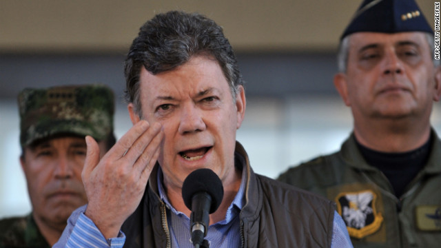"The outcome of peace talks with FARC will ""fall on my shoulders,"" Colombian President Juan Manuel Santos said Tuesday."