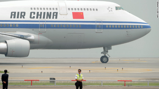 An Air China airplane arrives at Hong Kong's International airport on June 29, 2012.