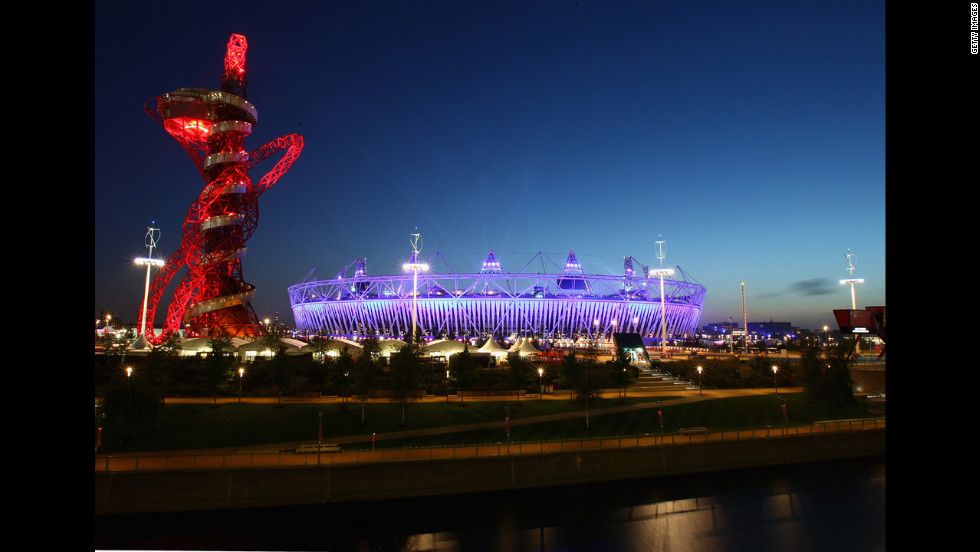 The Olympic Stadium and Orbit shine brightly during the opening ceremony of the London 2012 Paralympics on Wednesday, August 29.