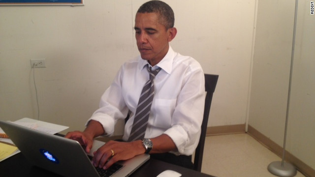 President Barack Obama posted this photo of himself answering questions on social-sharing site Reddit on Monday afternoon.