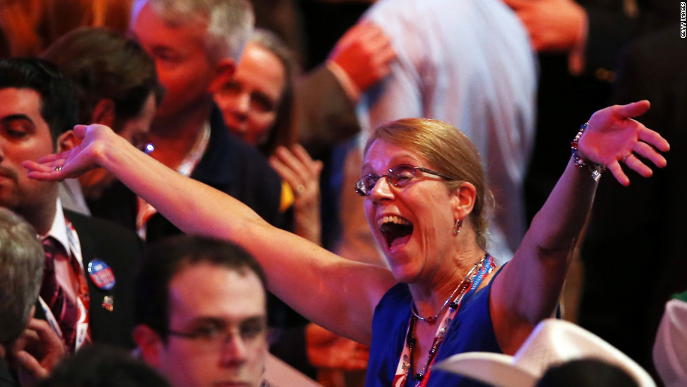 A woman gestures during the third day of the Republican National Convention.
