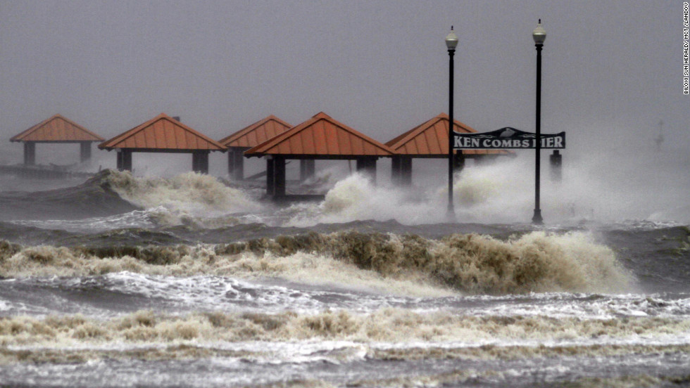 Waves from Hurricane Isaac pummel Ken Combs Pier in Gulfport, Mississippi.