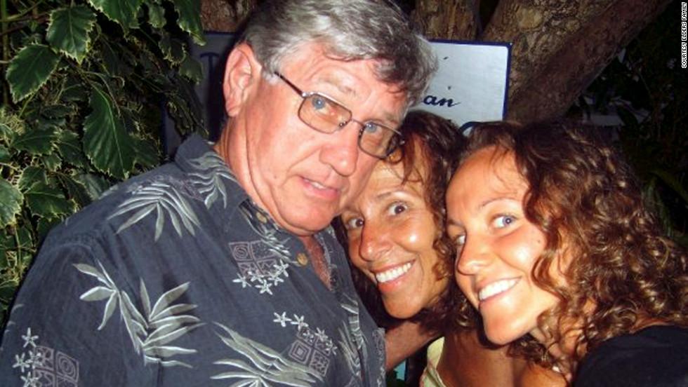 Elder, her husband, Jim, and daughter Jacquelyn in the Virgin Islands.