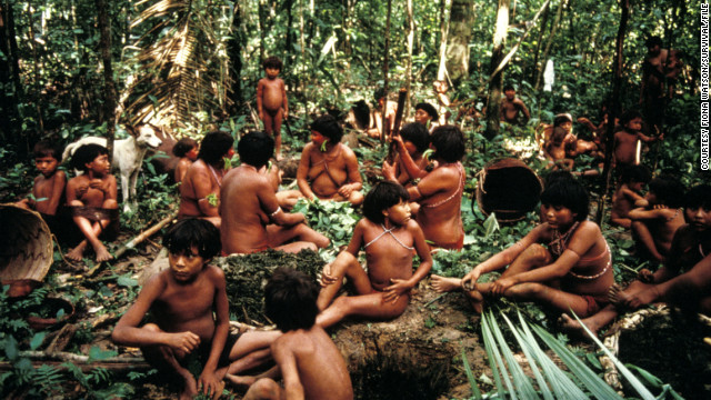 A group of Yanomami people, considered the largest indigenous group in the Americas, seen in a file photo near Demini, Brazil.