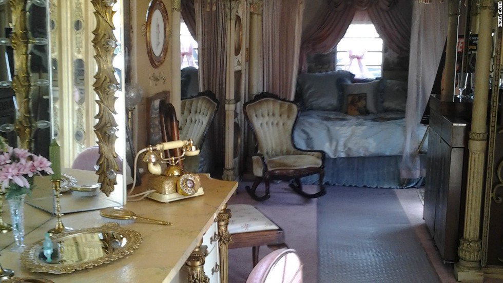 "Inside the dressing room trailer created for Elizabeth Taylor to use during the filming of ""Cleopatra"" in 1963. The trailer's owner says it was damaged while on loan for the filming of ""Liz & Dick"" in July."