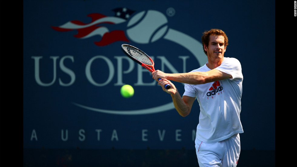 Andy Murray of Great Britain plays a backhand during a practice session.