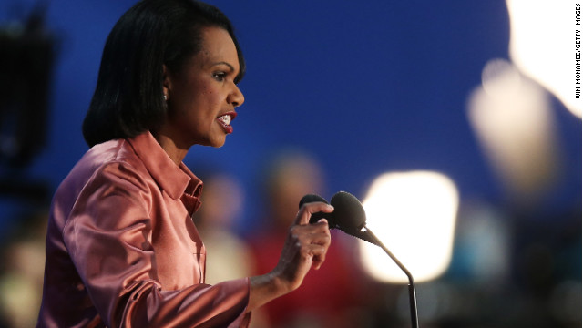 Former U.S. Secretary of State Condoleezza Rice speaks during the third day of the Republican National Convention at the Tampa Bay Times Forum on August 29, 2012 in Tampa, Florida.