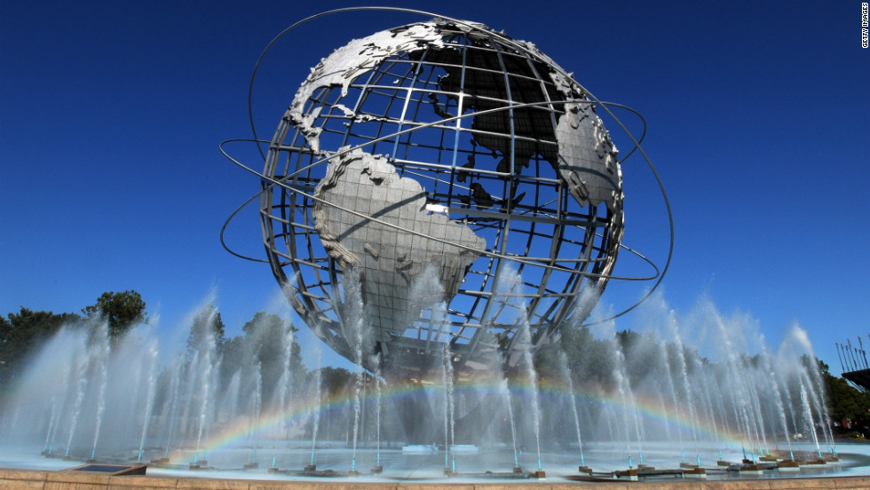 The water fountain under the iconic unisphere produces a rainbow at the grounds of the National Tennis Center.