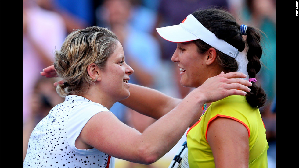 Belgian Kim Clijsters, left, congratulates Britain's Laura Robson after their match.