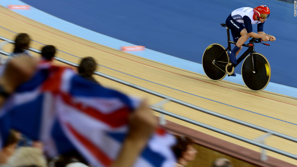 Mark Colbourne of Great Britain competes in the men's individual cycling event.