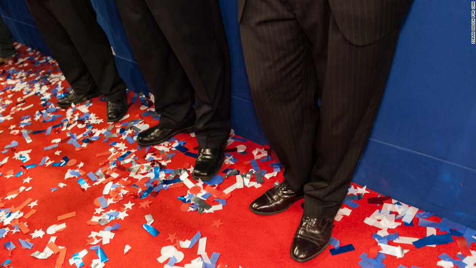 Confetti remains on the floor of the Republican National Convention after presidential nominee Mitt Romney delivered his acceptance speech on Thusday, August 30. Photographer Zoran Milich wandered around Tampa this week during the convention. Look back at his view of the action.