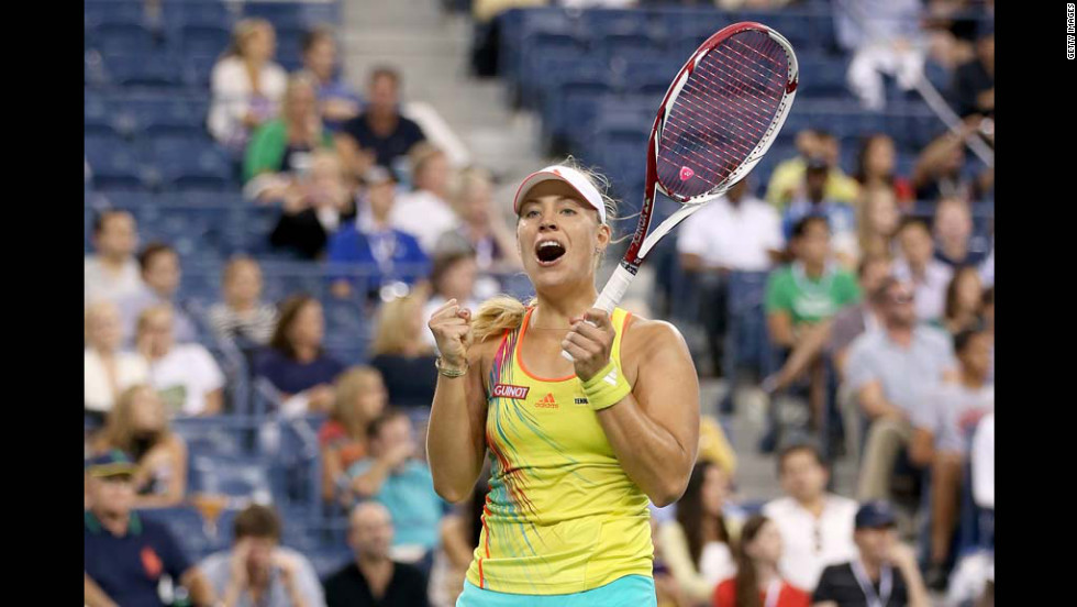 Angelique Kerber of Germany celebrates match point after her women's second round match against Venus Williams of the United States on Day Four of the 2012 US Open on Thursday, August 30.