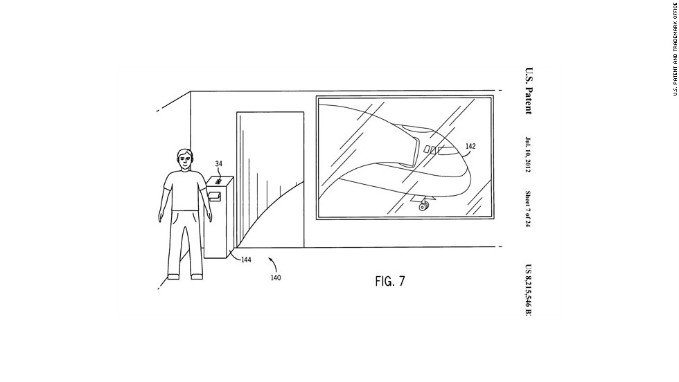 Apple's patent also includes a boarding area kiosk, which would receive check-in and boarding pass data from each passenger's phone, before fliers head down the jetway.