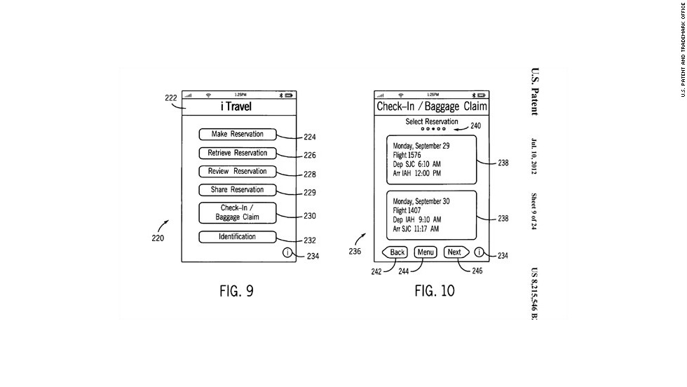 Apple's iPhone app patent would allow passengers to book airline reservations, check in for a flight and check or claim baggage. It also would be able to store electronic versions of official identification, such as passports or drivers licenses.
