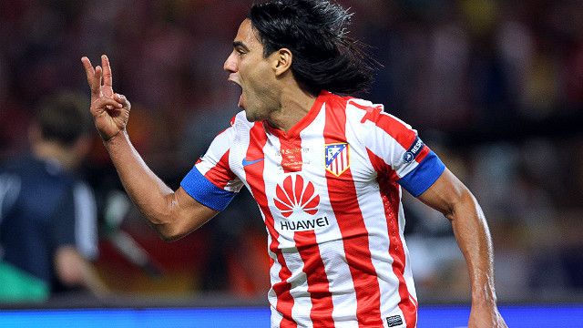 Atletico striker Falcao reminds the crowd in Monaco how many goals he scored in the first half