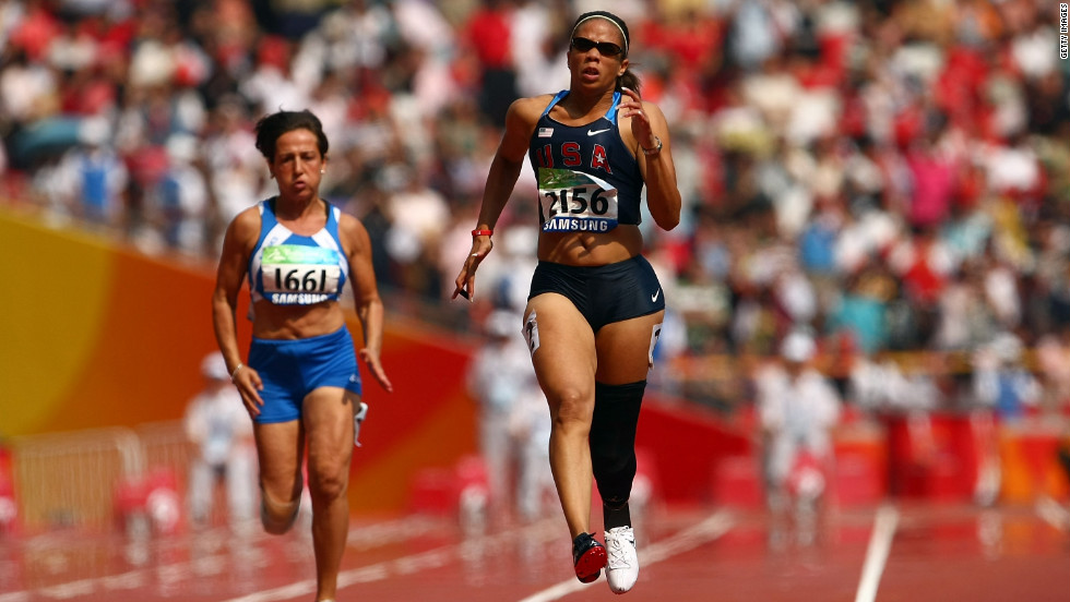 U.S. athlete April Holmes competes in the women's 100m T44 event on day eight of the 2008 Paralympic Games. She beat her own world record, fulfilling an ambition she'd spoken about before the games.