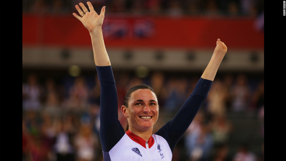Gold medalist Sarah Storey of Great Britain poses on the podium during the victory ceremony for  women's cycling.